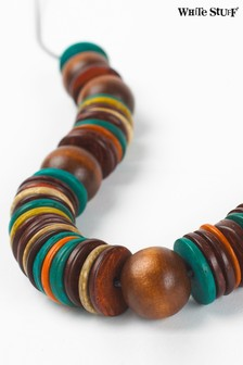 White Stuff Brown Wooden Disc Necklace