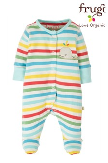 Frugi GOTS Organic Rainbow Babygrow With Scratch Mitts