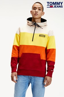 Tommy Jeans Red Colourblock Half Zip Hoody