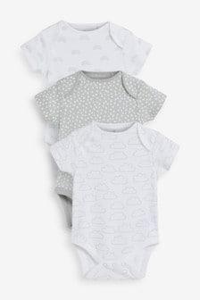 Kurzärmelige Bodys aus Supima-Baumwolle mitRegenbogen-Motiv,3er-Pack (0Monate bis 2Jahre)