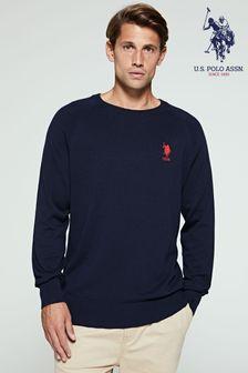 U.S.Polo Assn.藍色經典針織圓領衫