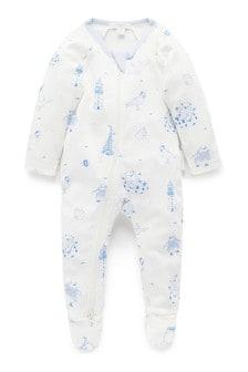 חליפת שינה עם רוכסן שלPurebaby מכותנה אורגנית בכחול דגם Summer Holidays