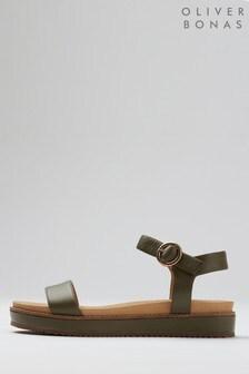 Oliver Bonas Strappy Green Leather Flatform Sandals