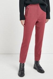 מכנסיים עם עיטור רוכסן בגזרת מותן גבוהה