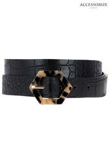 Accessorize Black Resin Buckle Jeans Belt
