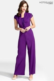 HotSquash Jumpsuit aus Krepp mit Spitzendetail, violett
