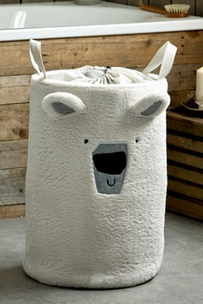 Worek na brudna bieliznę ze sztucznym futerkiem i niedźwiedziem polarnym