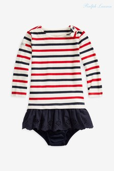 Ralph Lauren Cream, Navy And Red Striped Dress
