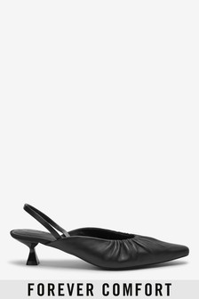 Leather Ruched Slingback Kitten Heel Shoes