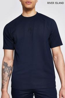 River Island Navy Texture Maison Raglan T-Shirt