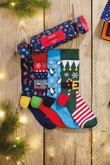 Christmas Pattern Socks Four Pack Cracker Gift Box