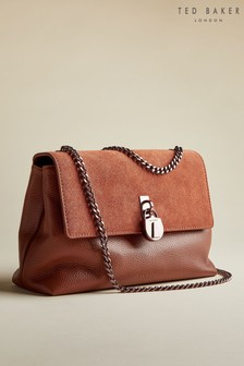 Ted Baker Tan Helena Suede Padlock Cross Body Bag