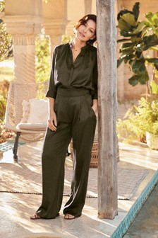 Emma Willis Satin Wide Leg Trousers