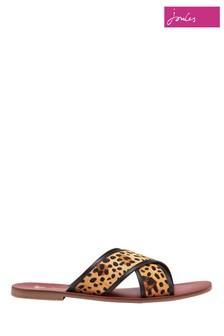 Joules Brown Maywell Cross Strap Leather Sandals