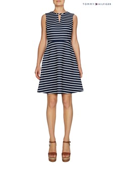 Tommy Hilfiger Blue Lexi Striped Fit And Flare Dress