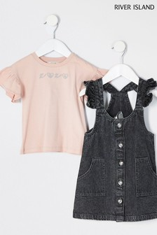 River Island Black Washed Pinny With T-Shirt