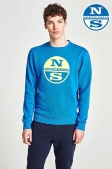 North Sails Blue Round Neck Graphic Sweatshirt