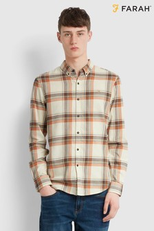 Farah Orange Yasgur Short Sleeve Revere Print Shirt