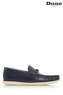 Dune London Barriers Navy Leather Twist Plait Trim Loafers
