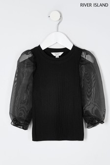 River Island Black Organza Puff Sleeve Top