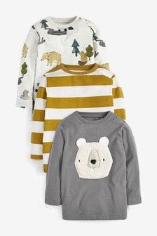 Набор футболок с меховой аппликацией медвежонка (3 шт.) (3 мес.-7 лет)