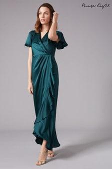 Phase Eight Green Philippa Frill Bridesmaid Maxi Dress