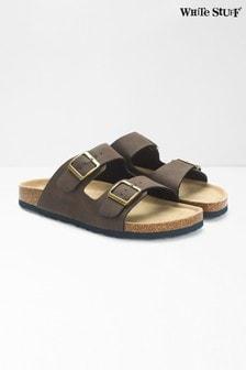 White Stuff Herren Sandalen mit Fußbett und doppelten Riemen, Braun