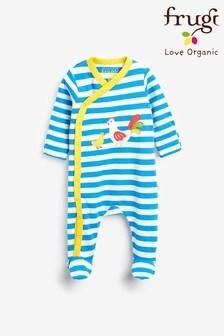 Costum întreg pentru bebeluși cu model pui aplicat din material organic certificat GOTS Frugi