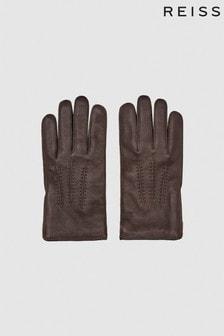 Reiss BIowa Leather Zip Detail Gloves