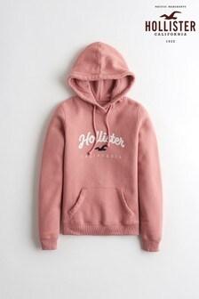 Hollister Pink Large Logo Hoody