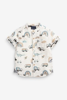 Short Sleeve Shirt With Grandad Collar (3mths-7yrs)