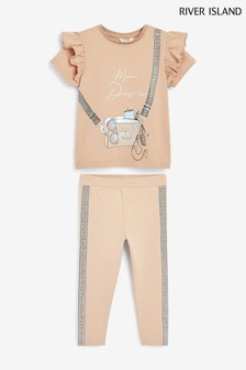 River Island米色腰包印花圓球T恤套裝