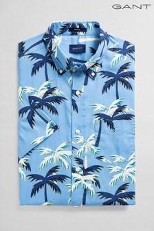 Chemise GANT bleue classique en drap fin à motif palmiers