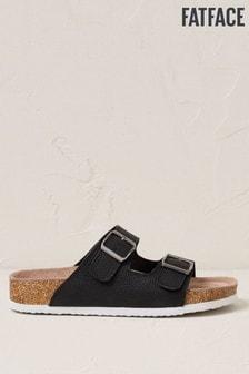 FatFace Black Meldon Footbed Nubuck Sandals
