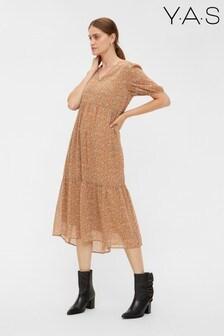 Y.A.S Beige Floral Print Tiered Midi Dress