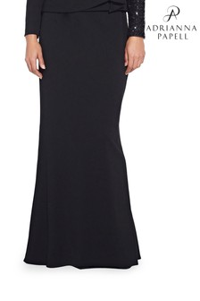 Adrianna Papell Black Crepe Mermaid Skirt