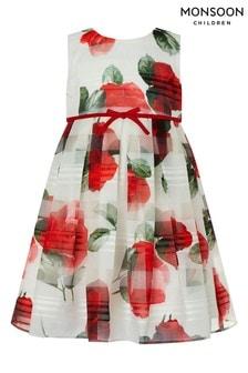 Monsoon gestreiftes Valentine Kleid für Babys mit Rosen, Elfenbein