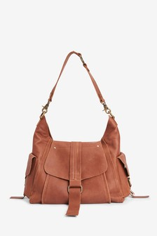 Leather Hardware Pocket Hobo Bag