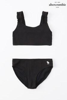 Abercrombie And Fitch Black Ruffle Bikini
