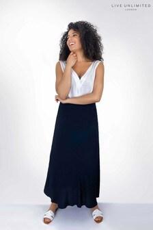 Live Unlimited Black Bias Cut Pull-On Skirt