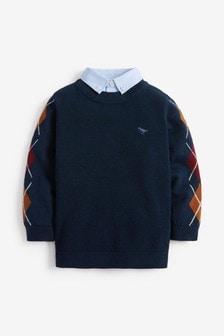 菱格紋假兩件套衫 (3個月至7歲)