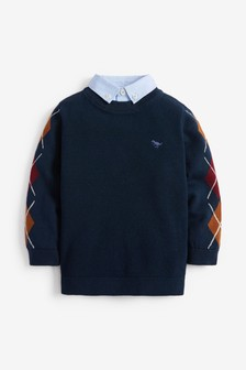 Arglye Mock Shirt Jumper (3mths-7yrs)