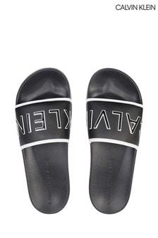 Calvin Klein Black Padded Sliders