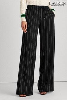 Lauren Ralph Lauren® Black/Cream Pinstripe Wide Leg Trousers