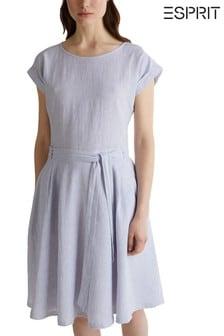 Esprit elegantes Kleid mit Gürtel, Blau