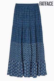 חצאית מקסי של FatFace דגםBeverley  בהדפס פאצ'יםShibori כחול