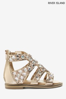 River Island Pink Gem Glam Flat Sandals