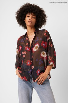 French Connection Blue Eloise Crinkle Shirt
