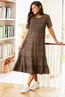 Maternity Shirred Midi Dress