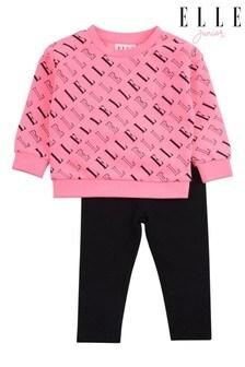 ELLE Pink Logo Crew & Legging Set